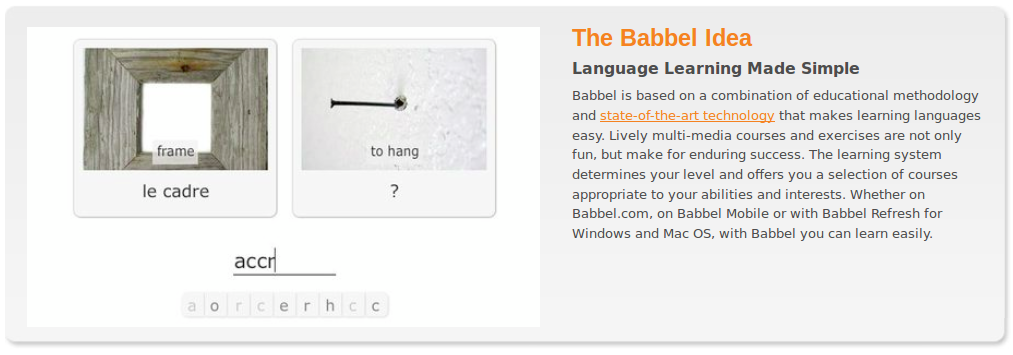 Babbel.com Virtual FlashCard Language Share Site w/English, French, German, Italian, Spanish Tools and Video Game-Like Interface
