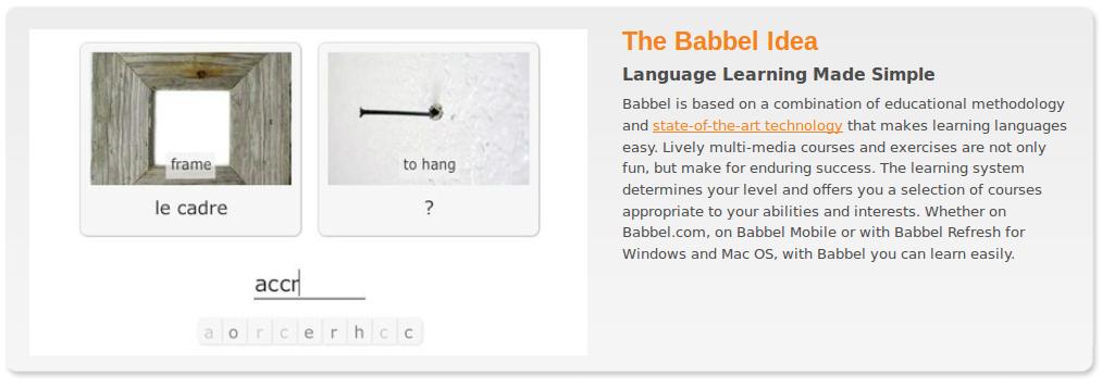 Babbel.com Virtual FlashCard Language Share Site w/English, French, German, Italian, Spanish Tools and Video Game-Like Interface