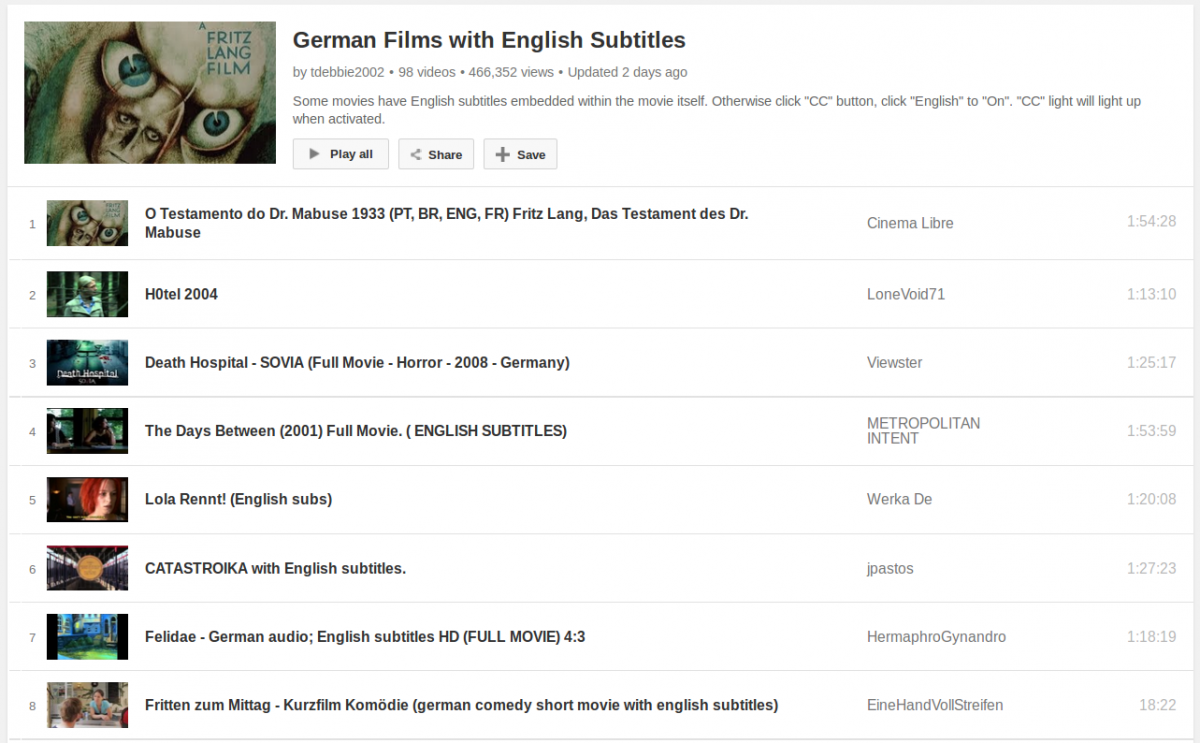 A Big List of German Films/Movies with English Subtitles to Watch and Learn for Free
