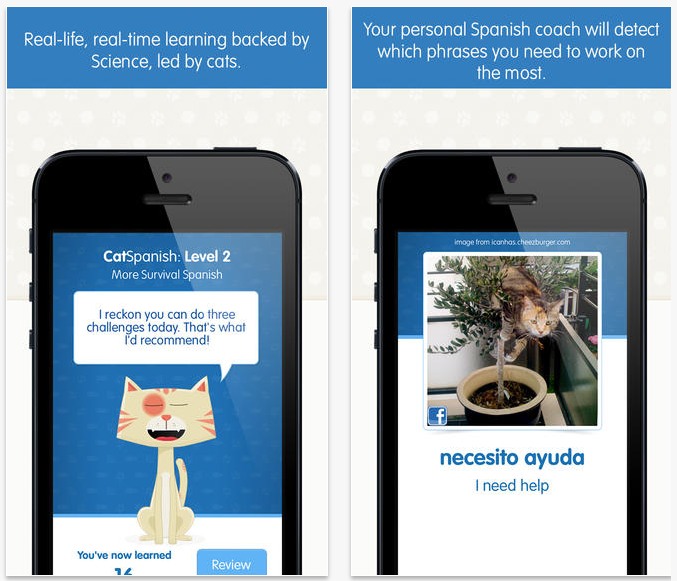 CatSpanish App Combines Cuteness, Humor, Visual Association, Testing and Repetition for Learning Spanish