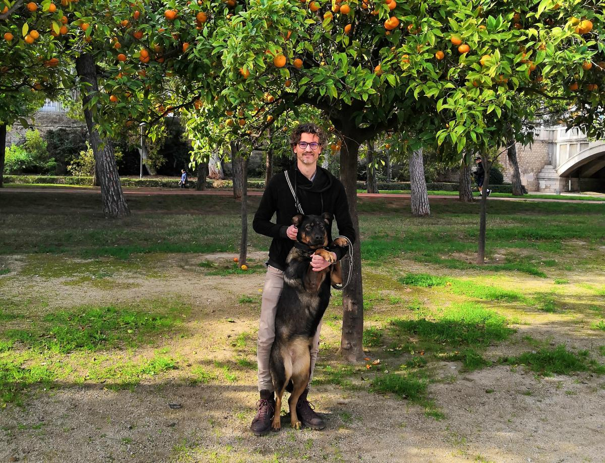 That's me with my pup, Ayo, traveling in Valencia, Spain.