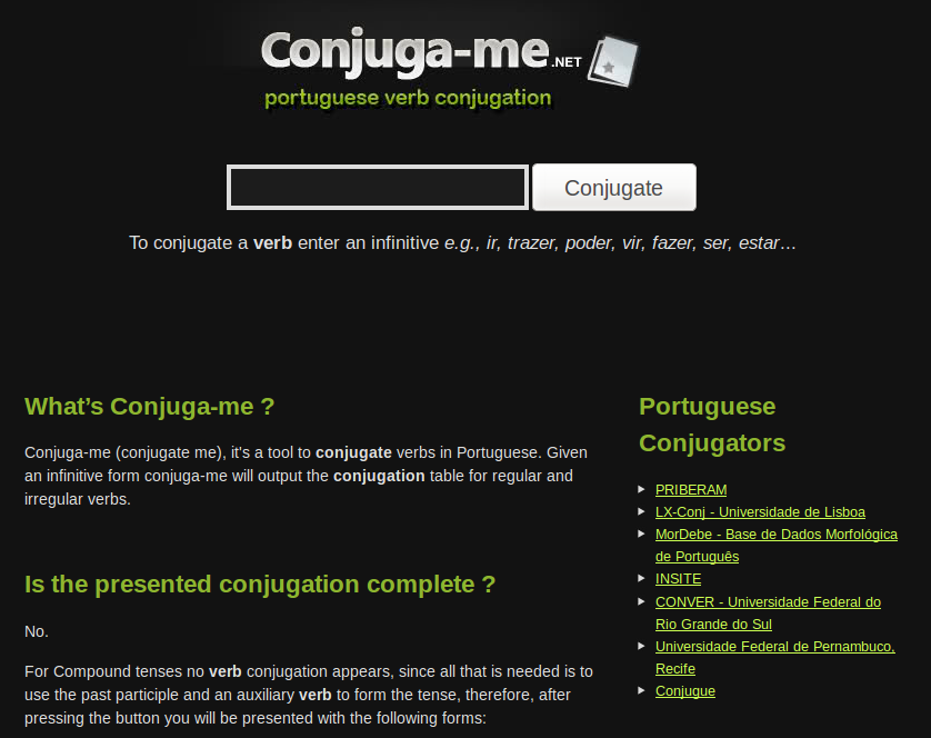 Conjuga-me.net Free Online Portuguese Verb Conjugator