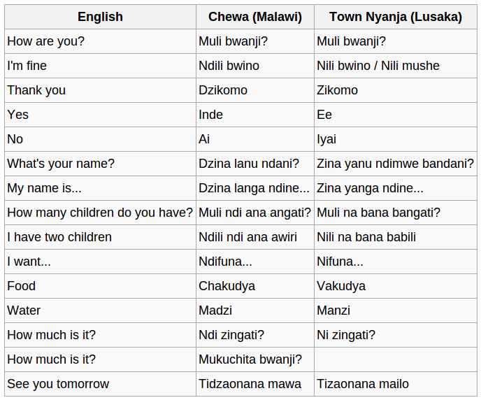 Download Free Chewa (Chinyanja) Course with Audio and Text