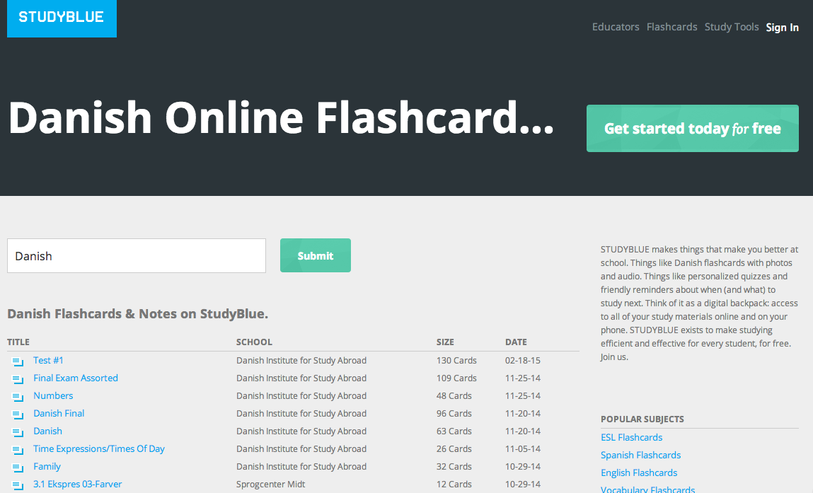 Slick Free Danish Flashcard Service with Web & Mobile Apps
