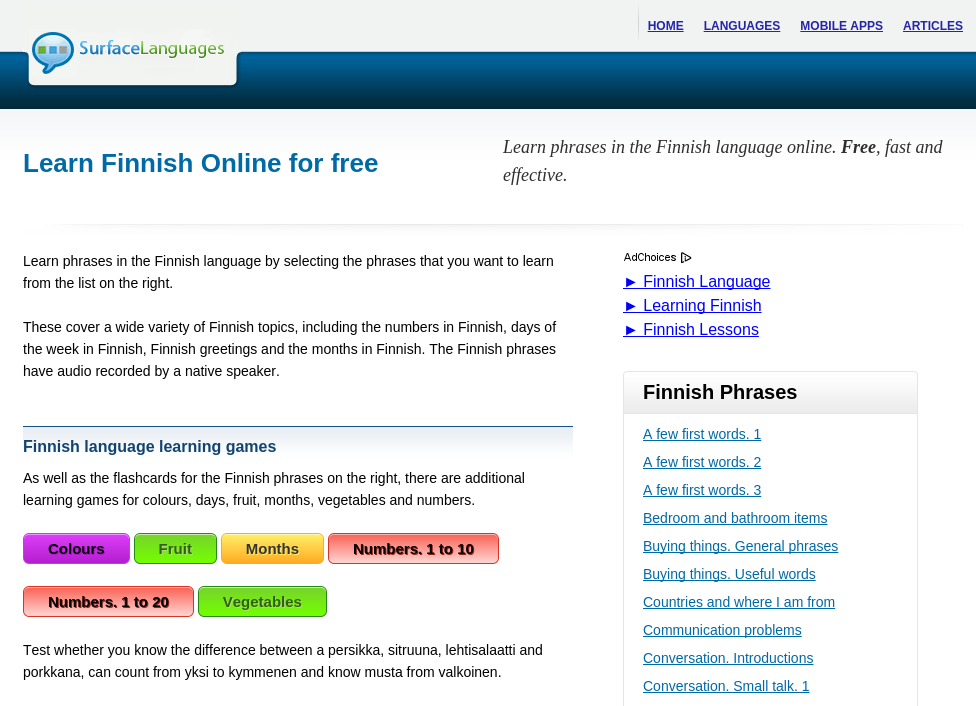 Free Finnish Audio Phrasebook, Games + Mobile Apps