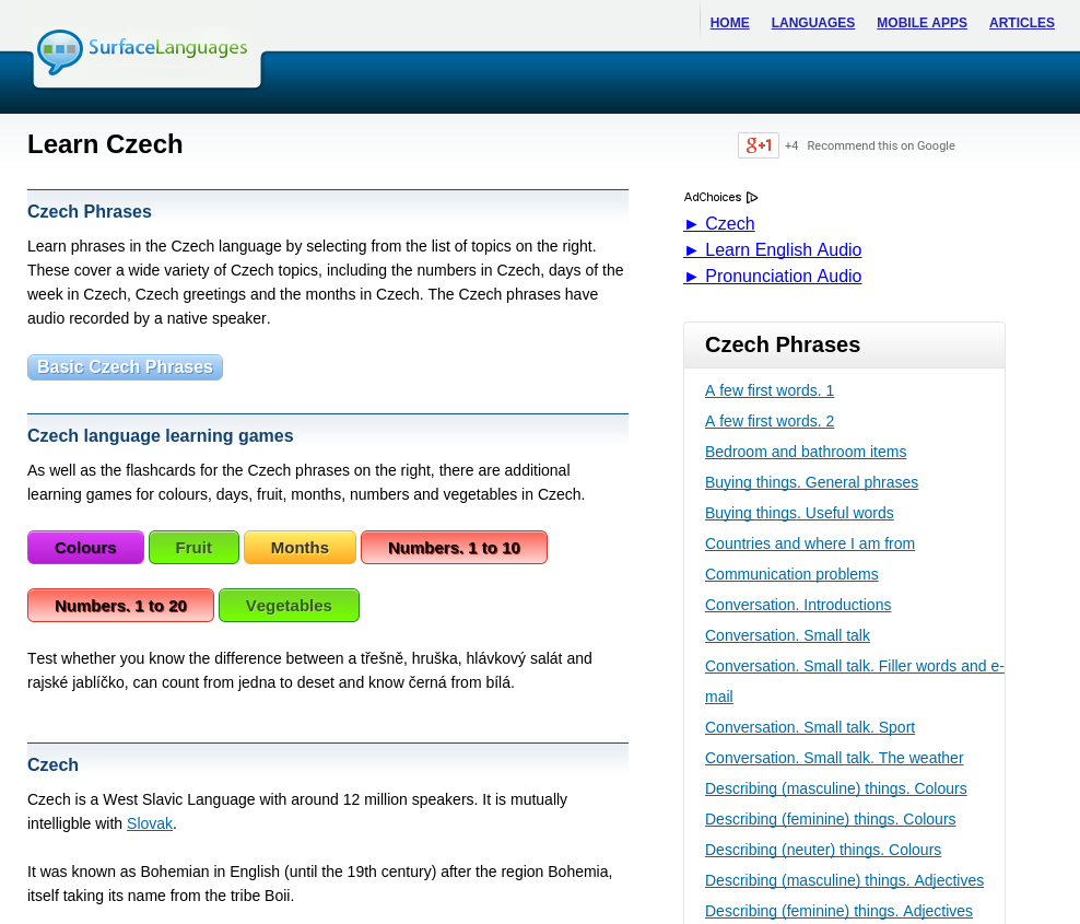 Free Czech Audio Phrasebook