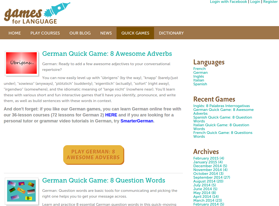 Free Online Games and Quizzes for Learning German with Audio and PDF Downloads plus 36-Lesson Course