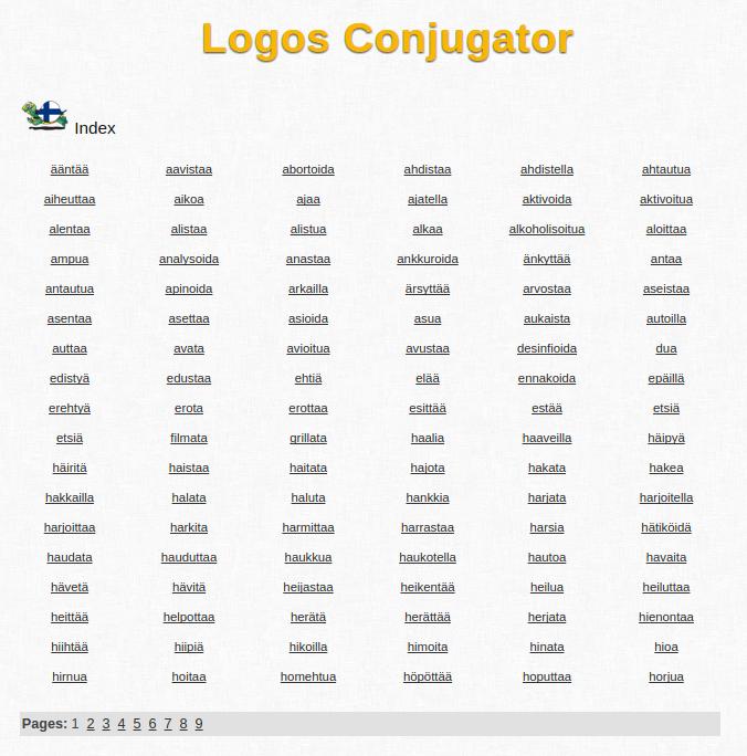 Free Online Finnish Verb Conjugator