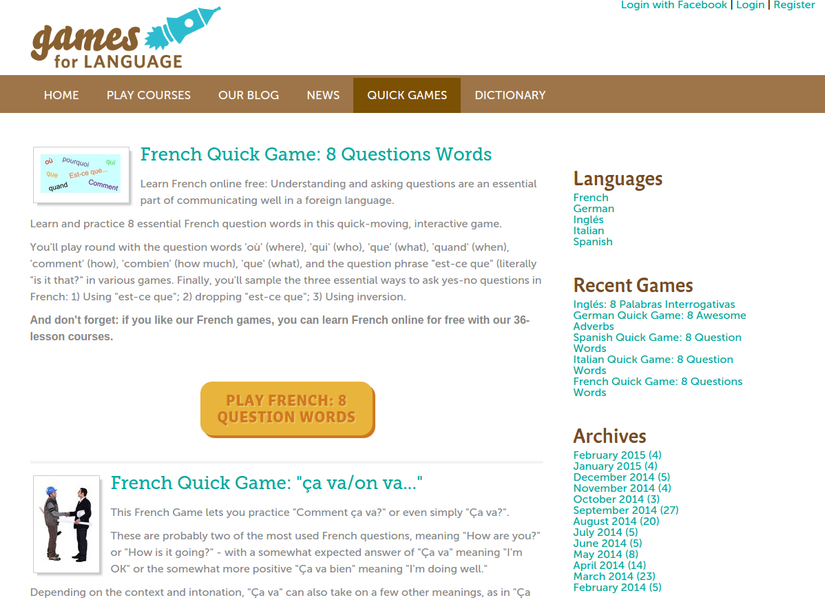 Free Online Games and Quizzes for Learning French with Audio and PDF Downloads plus 36-Lesson Course