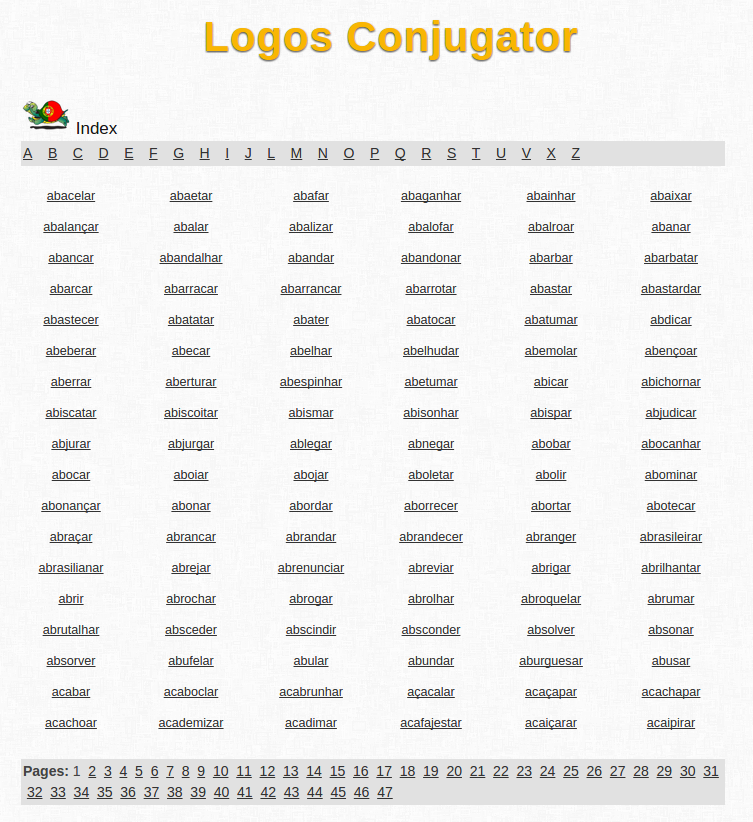 Free Online Portuguese Verb Conjugation and Learning Conjugator