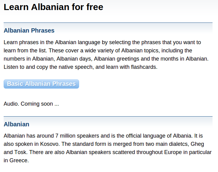 Free Albanian Audio Phrasebook and Games to Learn Basic Albanian for Travel and Living