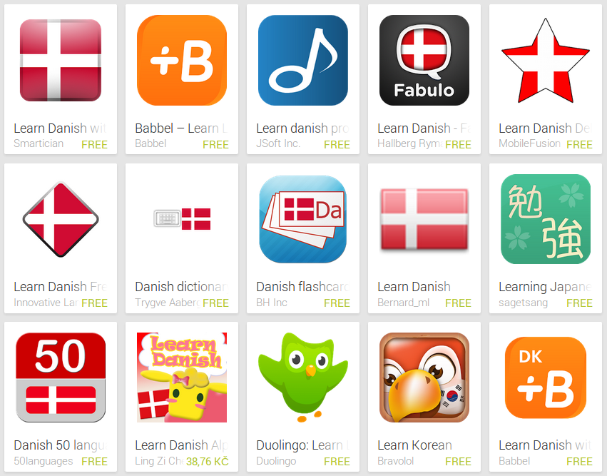 Learn Danish with Android Apps