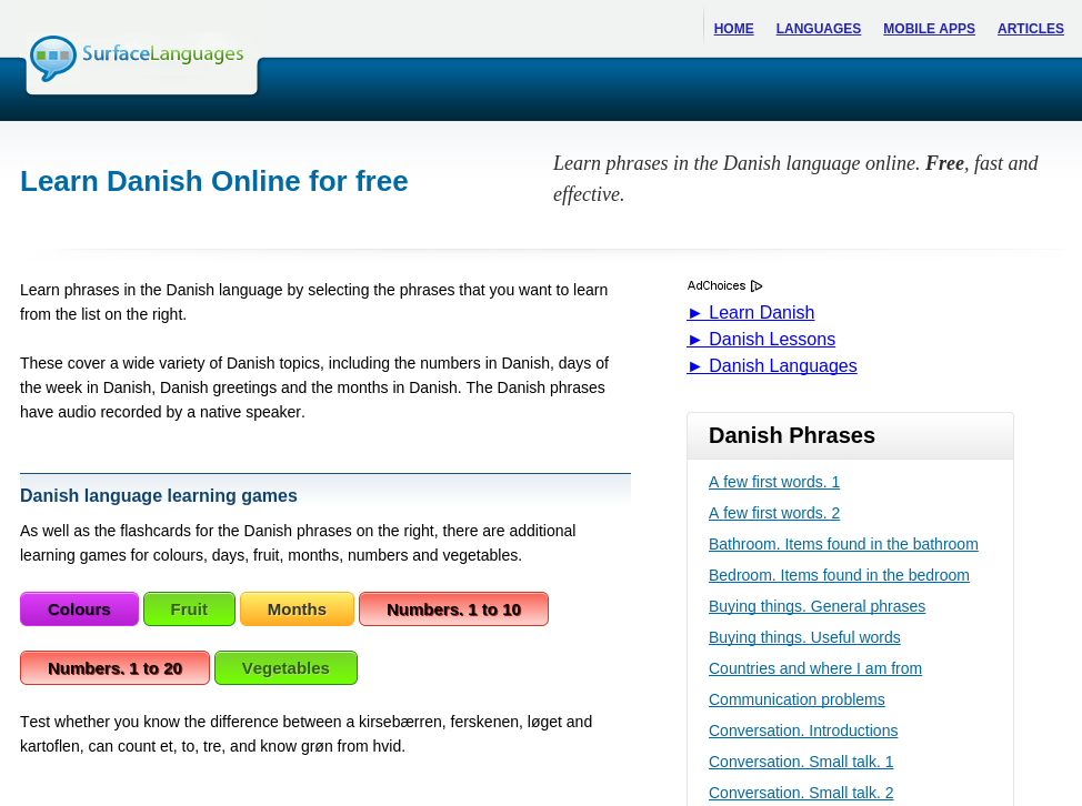 Free Danish Audio Phrasebook, Games and Mobile Apps (Android, iOS) to Learn Basic Danish for Travel and Living