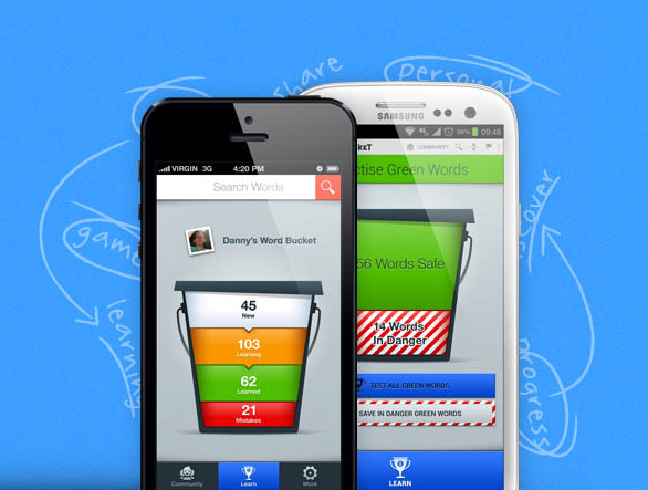 Learn English Vocabulary on iPhone and Android with the Word Bucket App