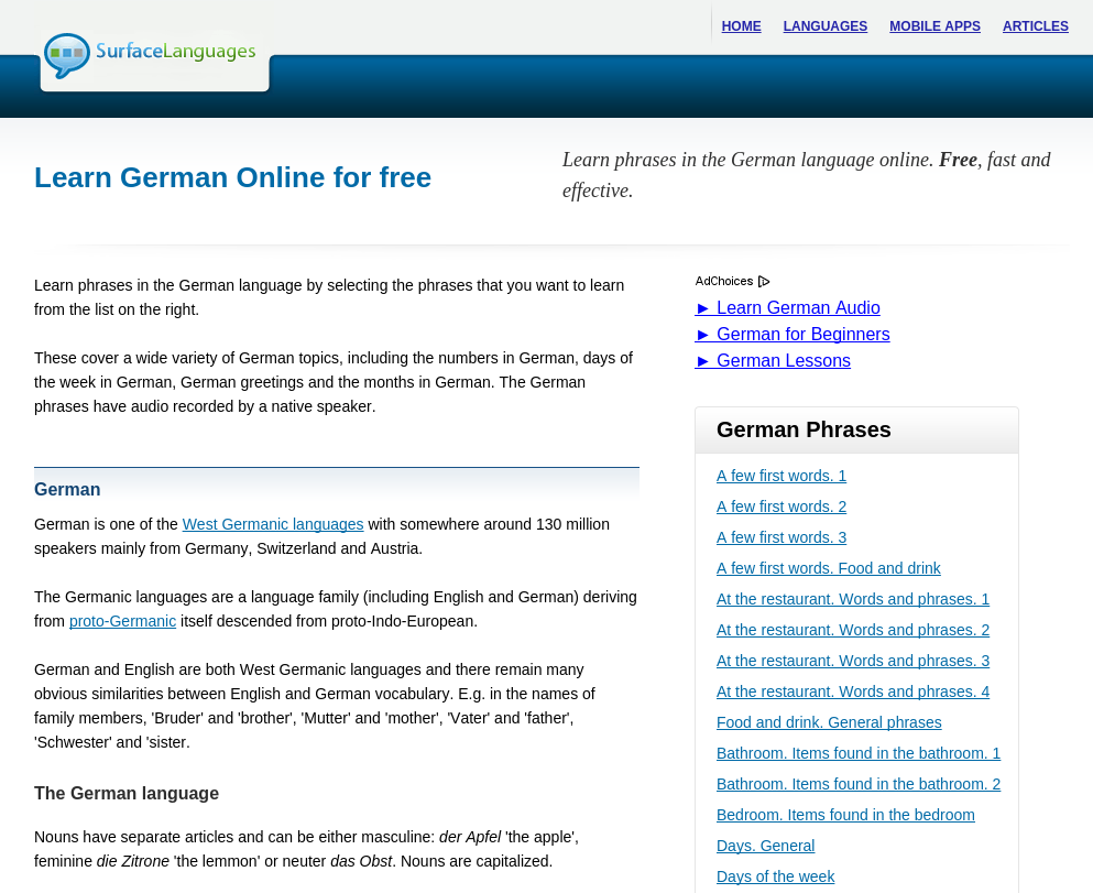 Free German Audio Phrasebook: Learn Basic German for Travel and Living