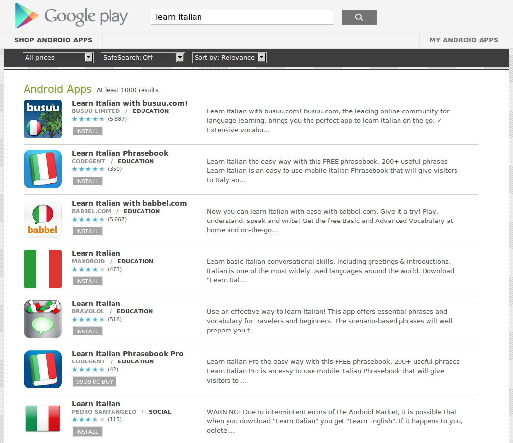Learn Italian with Android Apps