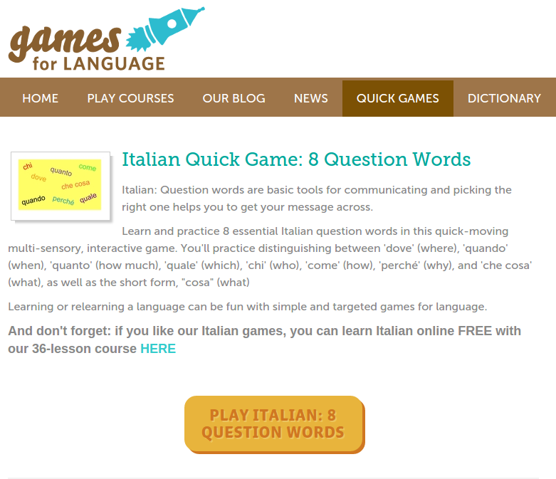 Free Online Games and Quizzes for Learning Italian with Audio and PDF Downloads plus 36-Lesson Course