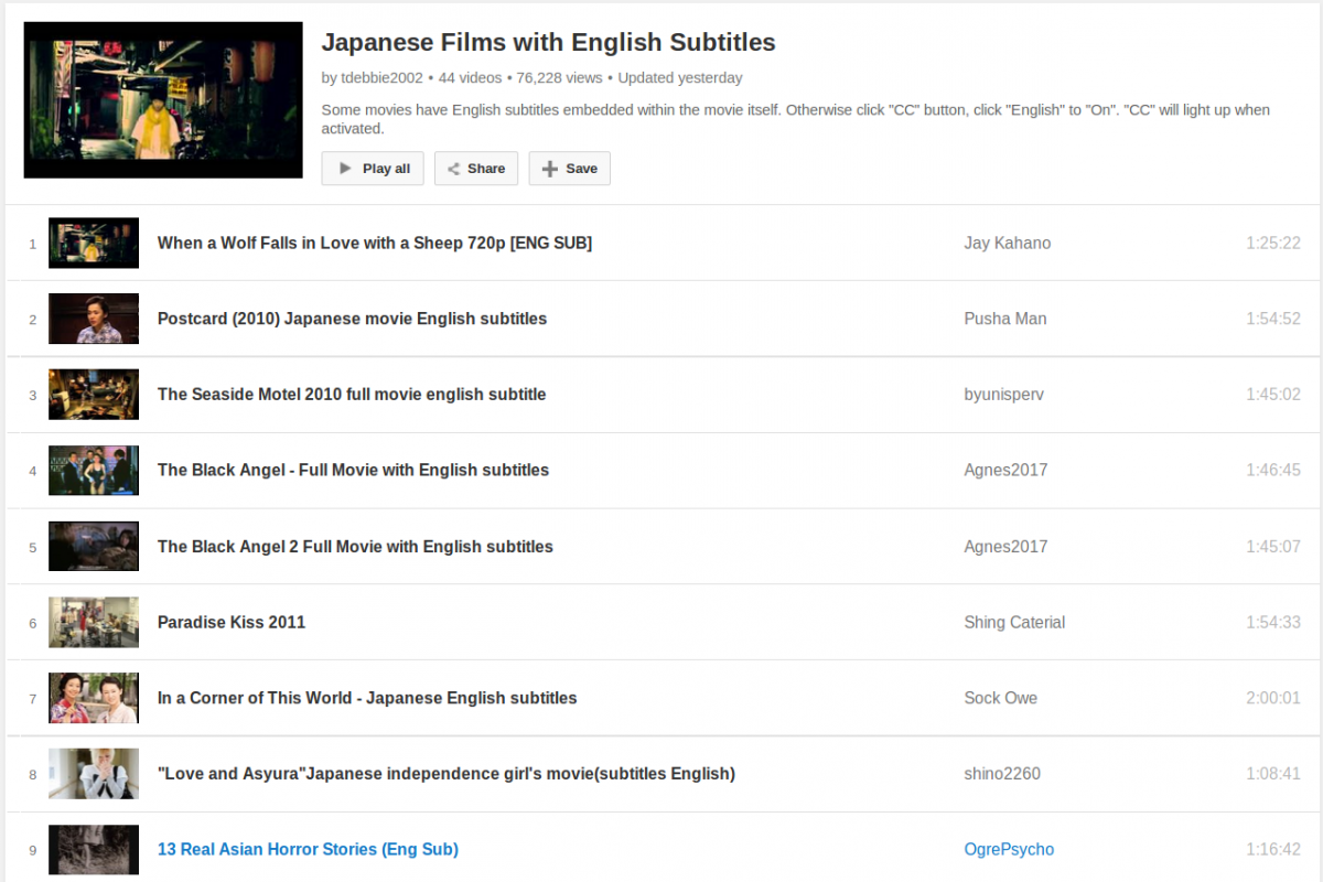 A Big List of Japanese Films/Movies with English Subtitles to Watch and Learn for Free