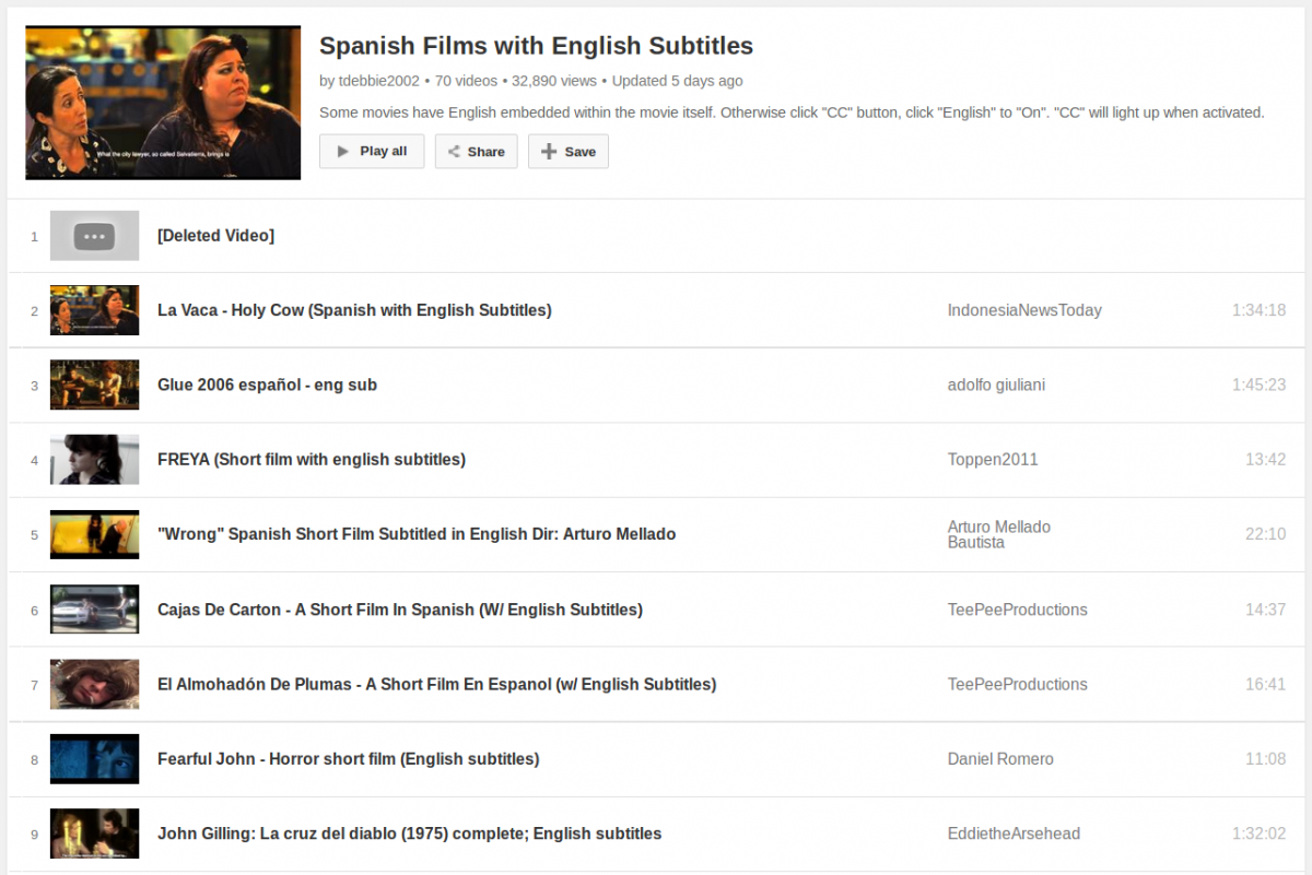 A Big List of Spanish Films/Movies with English Subtitles to Watch and Learn for Free