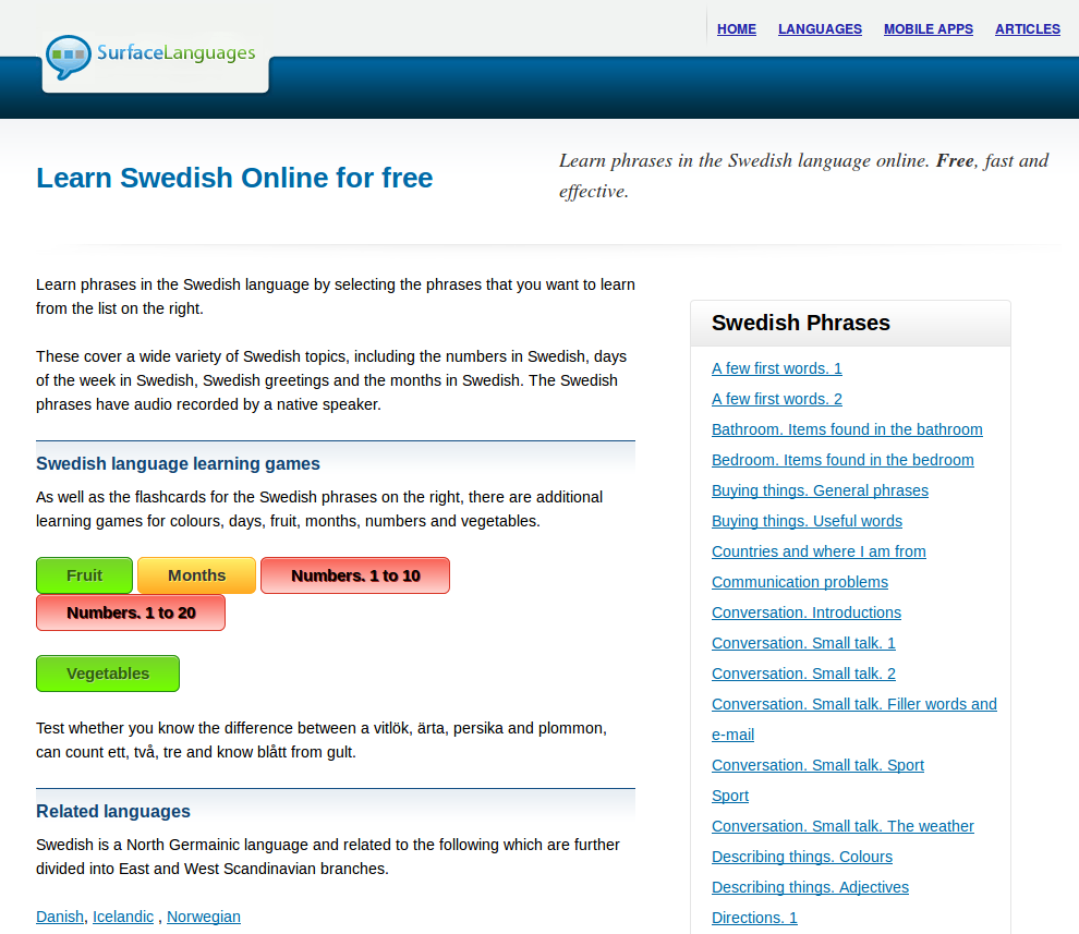 Free Swedish Audio Phrasebook, Games and Mobile Apps (Android, iOS) to Learn Basic Swedish for Travel and Living