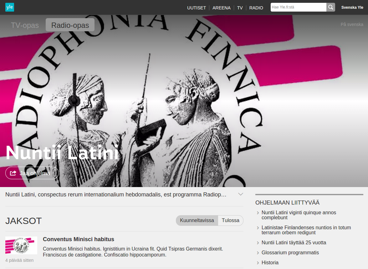 Nuntii Latini: Modern Day News in Classical Latin from the Finnish Broadcasting Company