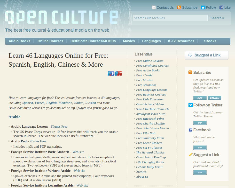 Links to Free Lessons for 45+ Languages on OpenCulture (Spanish, English, Chinese, German & more)