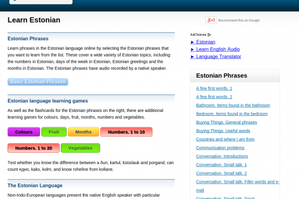 Learn estonian language free