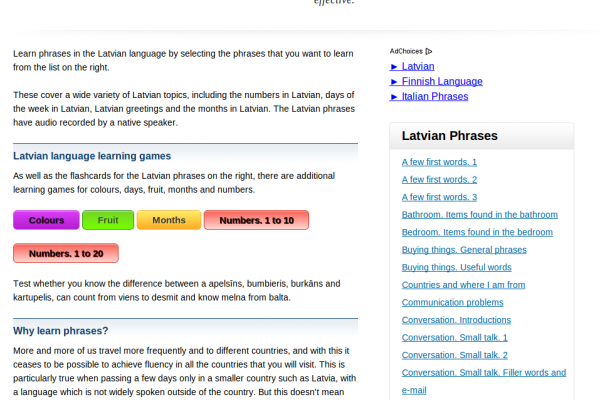 Free Latvian Audio Phrasebook, Games and Mobile Apps (Android, iOS) to Learn Basic Latvian for Travel and Living