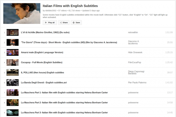 A Big List of Italian Films/Movies with English Subtitles to Watch and Learn for Free