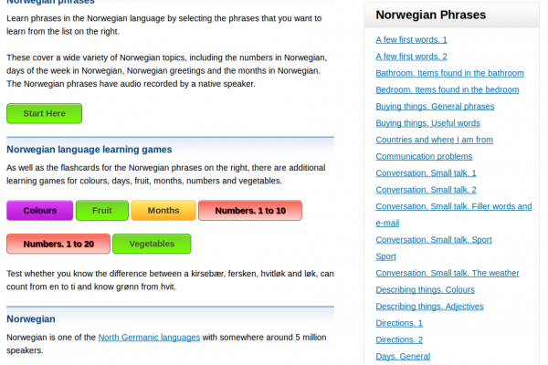 Free Norwegian Audio Phrasebook, Games and Mobile Apps (Android, iOS) to Learn Basic Norwegian for Travel and Living