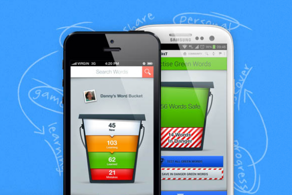 Learn Portuguese Vocabulary on iPhone and Android with the Word Bucket App