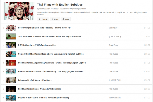A Big List of Thai Films/Movies with English Subtitles to Watch and Learn for Free