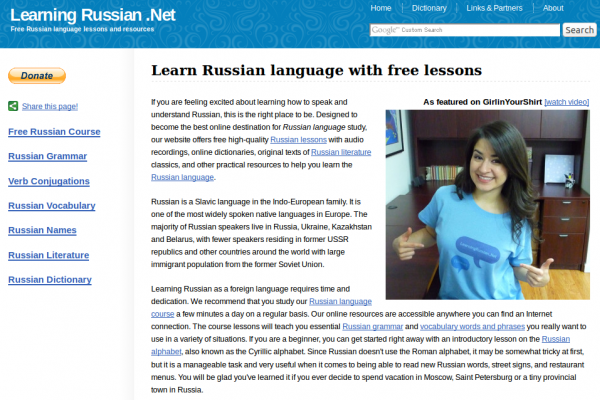 LearningRussian.Net Learning Russian Website with Beginner Lessons, Grammar Overview and Russian-English Dual-Language Texts